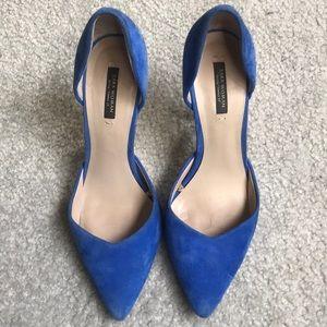 Zara suede cobalt blue heels
